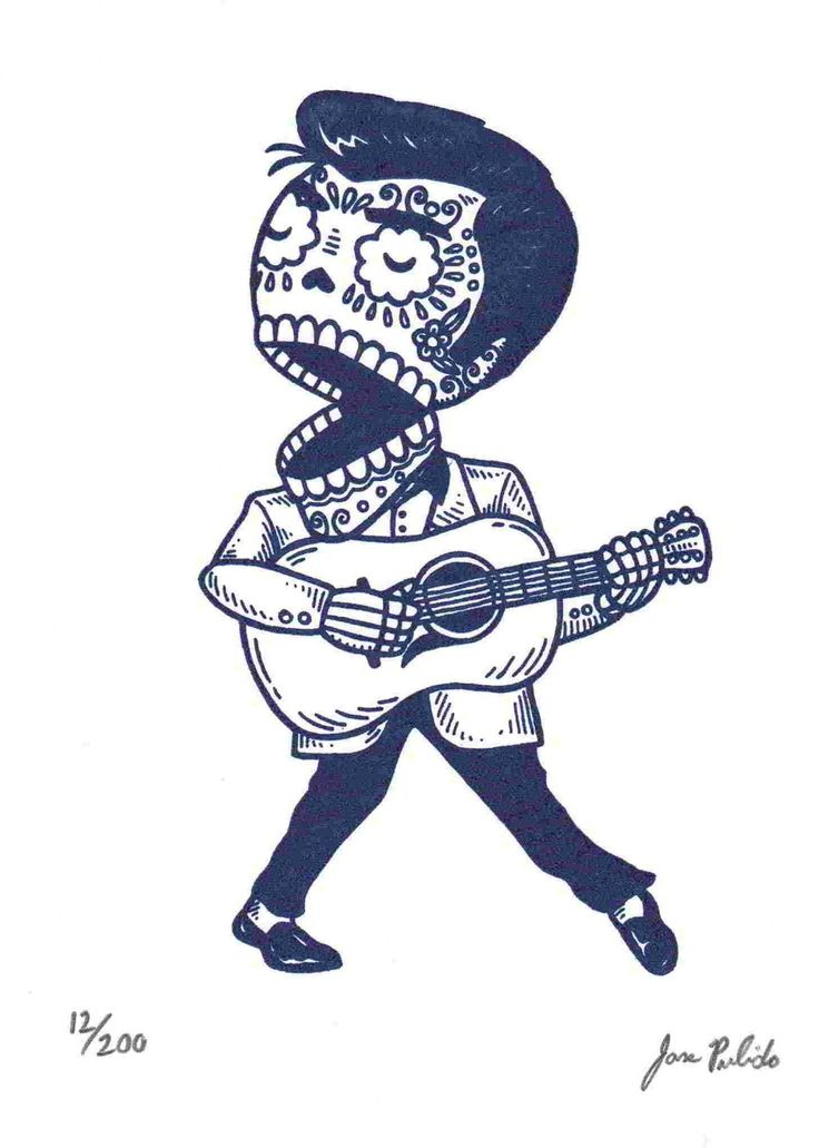 Calavera de joven Elvis por José Pulido
