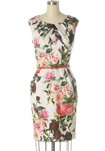 Lovely off-white sheath dress with colourful and bold rose and bird prints. Pleat details on neckline and waist line. Hip Pockets. Removable belt. Back zipper. 97% polyester, 3% spandex (scuba) Slightly stretchy Top part lined Hand wash cold; hang dry Women's Vintage-Style Dresses & Accessories - Canada Bird Songs Dress -