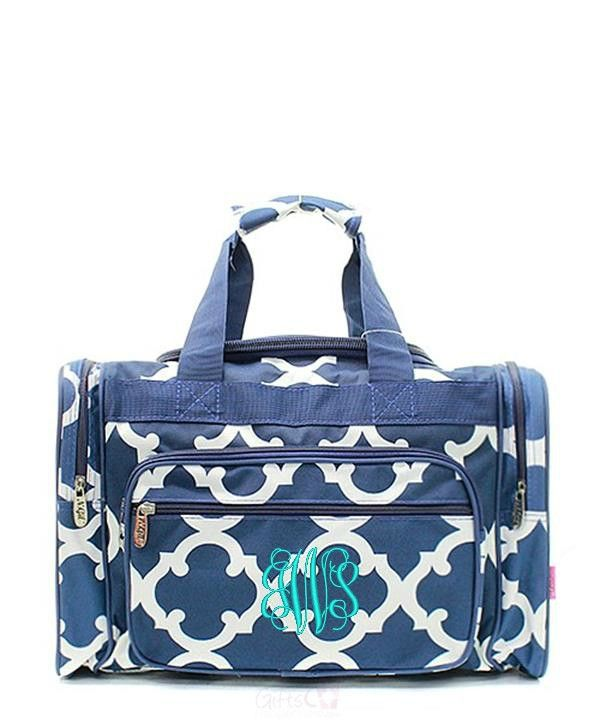"Personalized Quatrefoil Moroccan 17"" Duffel Bag - Navy"