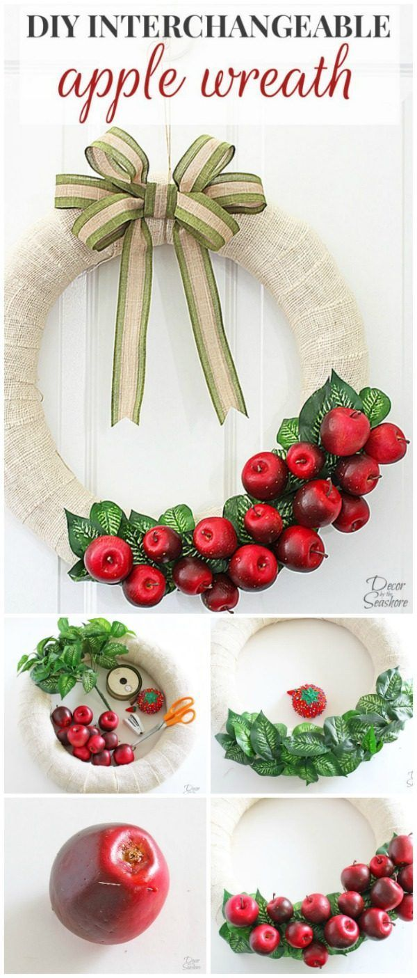 DIY Interchangeable Apple Wreath | Swap out the design each season for a new…