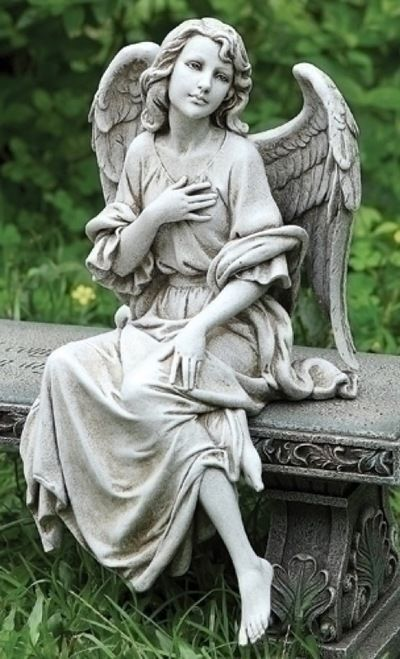 "12"" Sitting Angel Outdoor Statue Figure"
