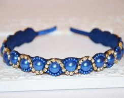 Tiara de Perolas e strass Azul