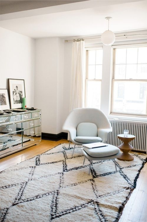 Womb chair and Moroccan rug