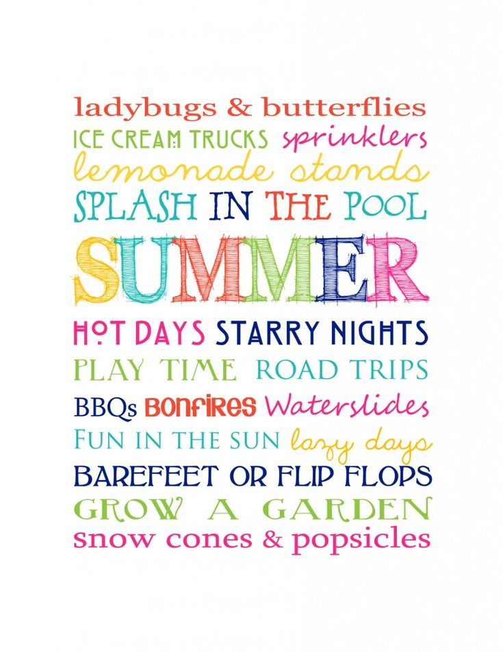 Free Summer Subway Art Printable. This sounds like a perfect summer to me :)