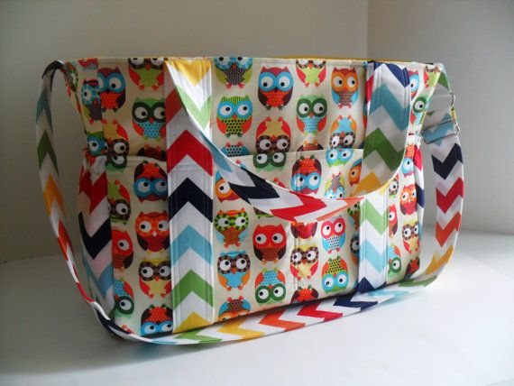 Extra Large Diaper Bag Made of Owl and Chevron by fromnancy, $116.00