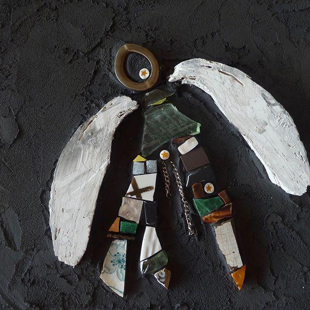 """Green angel"" #mosaic art #green #angels #stars #upcycle#upcycledart"