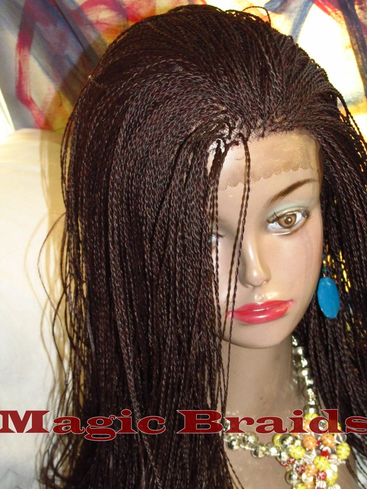 Fully Braided Lace Front Wig Micro Twist Color 99j Saline