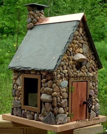 One of a Kind Artisitc Birdhouses by Thom Bruso....love the slate roof and copper trim!
