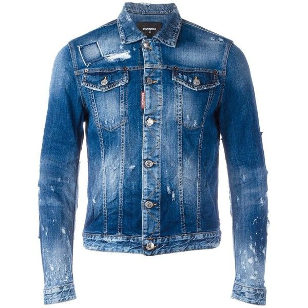 Dsquared2 heavily distressed jean jacket ($895) ❤ liked on Polyvore featuring men's fashion, men's clothing, men's outerwear, men's jackets, blue, mens distressed leather jacket, mens blue jacket, mens punk jacket, mens blue jean jackets and mens distressed denim jacket