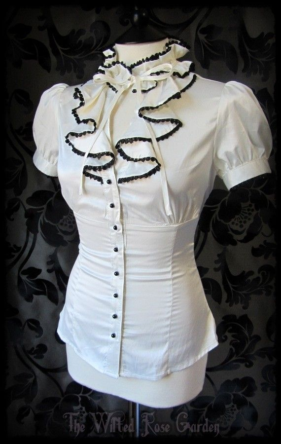 Romantic Victorian Cream Satin Black Lace Ruffle High Neck Governess Blouse 8 | THE WILTED ROSE GARDEN on eBay // UK Based // Worldwide Shipping Available