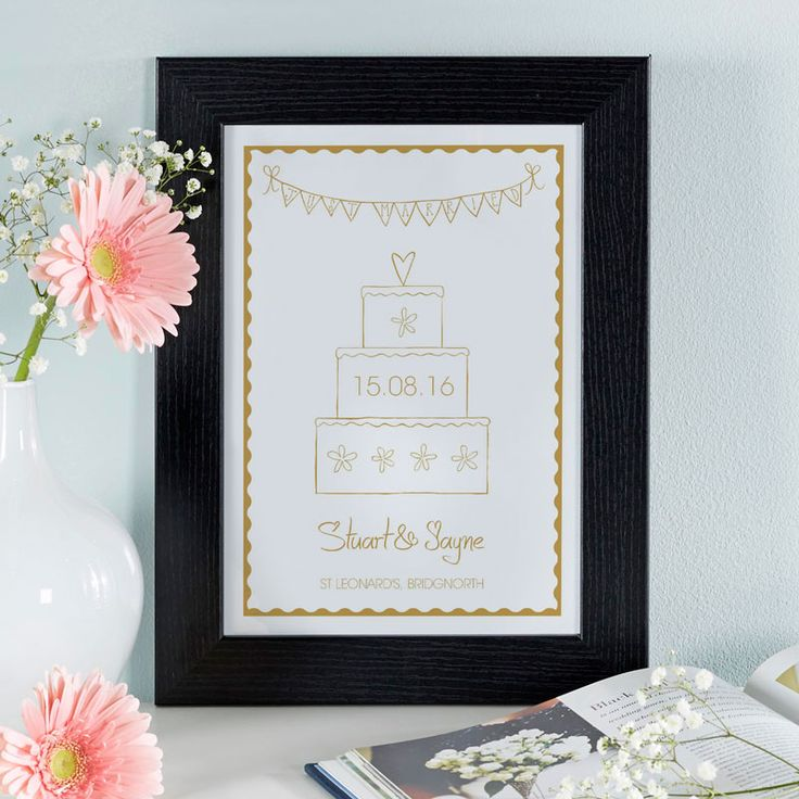 Custom framed gift for bride & groom. See your design come to life as you type