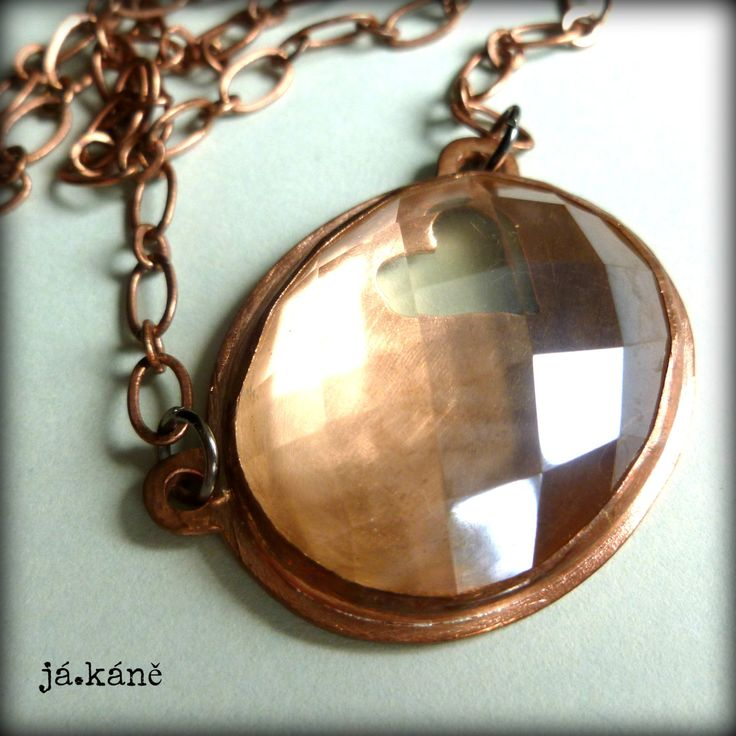 citrine heart pedant necklace rustic copper necklace  crystal jewelry by jakanestudio on Etsy