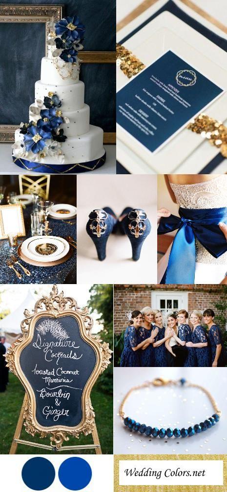 Navy, Cobalt Blue & Gold Wedding Color Inspiration.... pretty, but i dont like gold