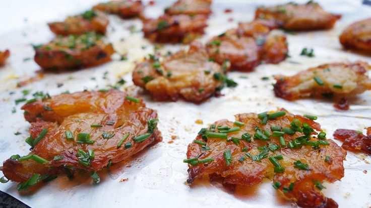 Potatoes done differently: Delicious crispy smoked chilli oil smashed potatoes.