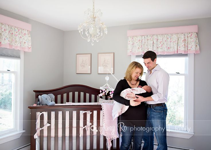 Grey and pink nursery - Amy Ro Photography Rhode Island Newborn Photography