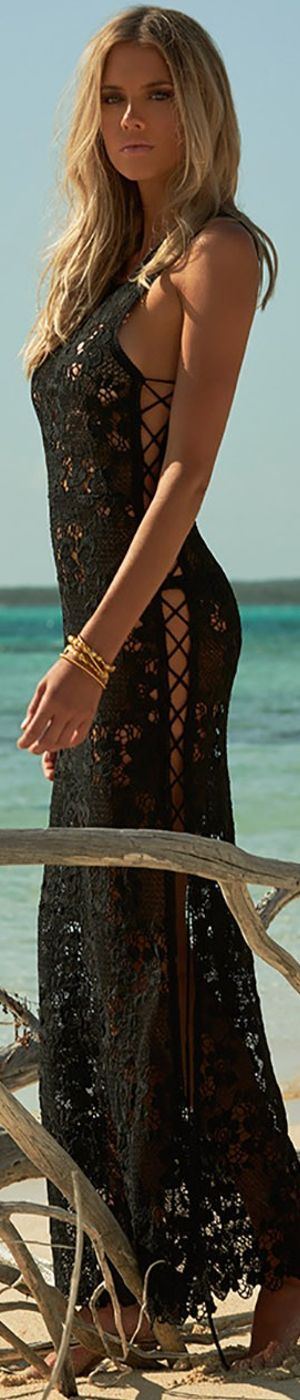 MELISSA ODABASH JAMIE LACE LONG DRESS BLACK