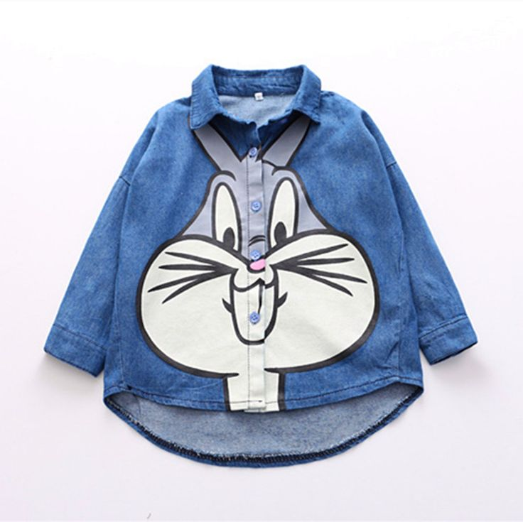 >> Click to Buy << Fashion Summer Cartoon Bugs Bunny Clothes Kids Girls Blue Anime Denim Jean Blouses Clothing Top Tees Costume For Children Gift #Affiliate