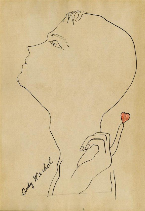 ANDY WARHOL - Pen & ink and colored ink drawing