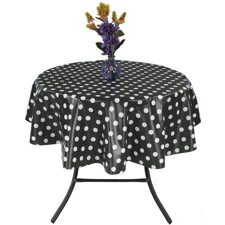 Ottomanson Vinyl Polka Dot Design 55 inch Round Indoor & Outdoor Tablecloth Non-Woven Backing, Black