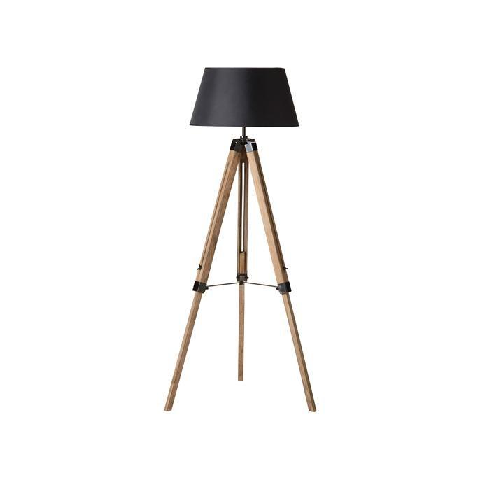 Vloerlamp op houten verstelbare statief poot met zwarte stoffen kap.