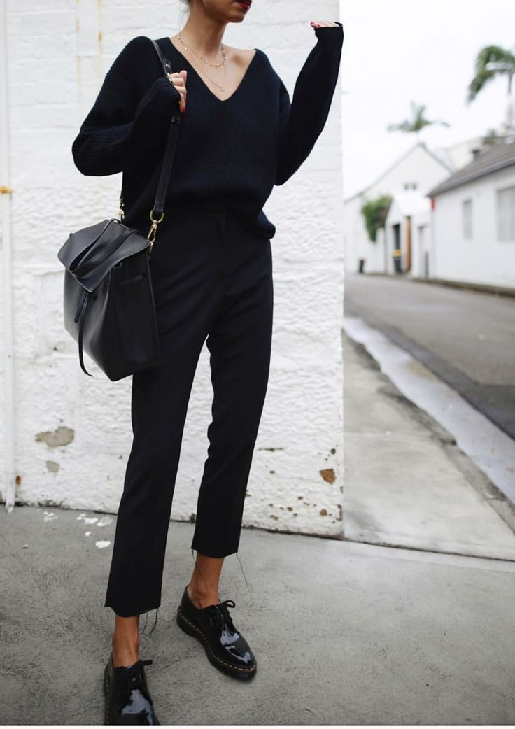 Fashion | Fashion outfits | Fashion ideas | Black outfit | Total black outfit | – | #black #jumper #trousers #shoes #bag #ootd #ootw #inspo