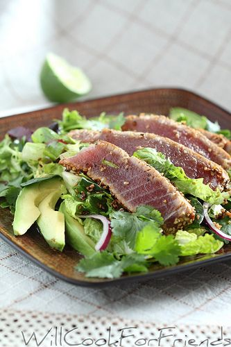 Sesame crusted, pan seared Ahi tuna Salad on a bed of fresh greens, lightlytossed with honey/lime/ginger dressing – recipe