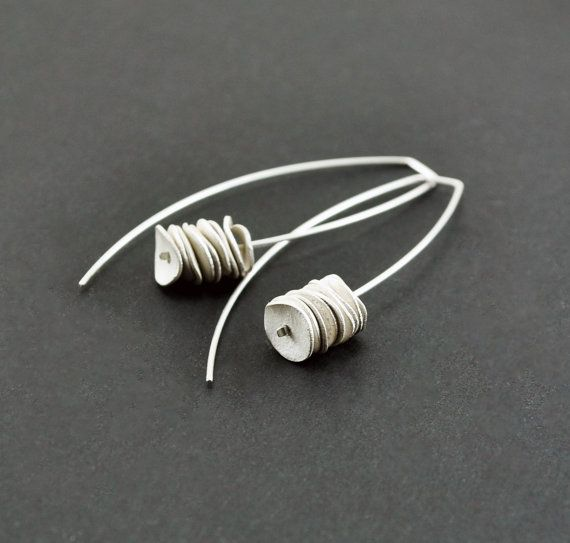 Reticulated Sterling Silver Earrings. White. Dangle. Handmade by Maria Goti Joyas on Etsy, $43.28