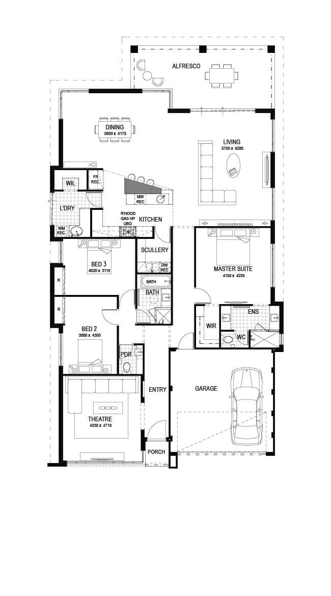 The Artisan 3 Bed 2 Bath 15m Wide 271m2 Display Home In Hammond Park Open 2 5pm Mon Wed 1 5pm Sat 12 Modern House Plans House Plans House Floor Plans