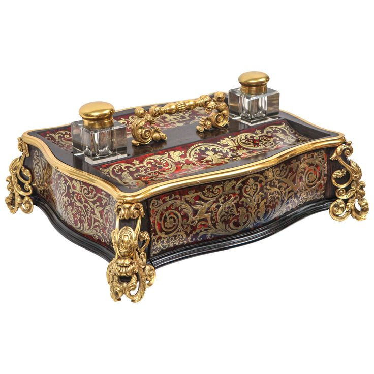 19th Century French Oversized Boulle Ink Stand with a single drawer. The ink stand is embellished with tortoise shell and dore bronze mounts