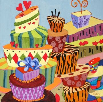 Celebrate with Cake, contemporary still life painting of fancy cakes, painting by artist Carolee Clark