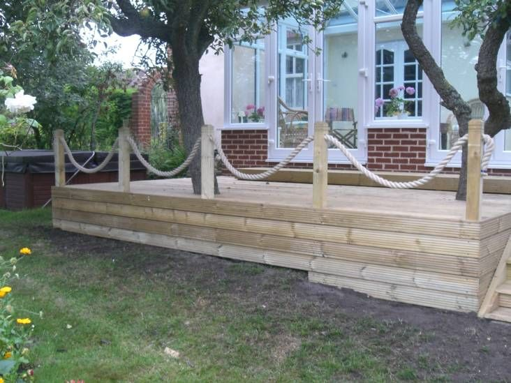 Whipped synthetic hemp rope garden decking from for Garden decking ideas pinterest
