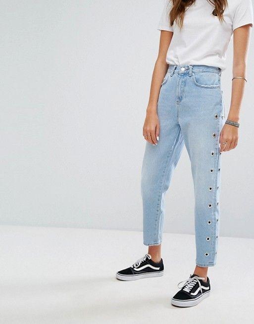 Pimkie Eyelet Detail Mom Jeans