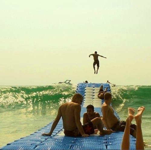 CanDock floating dock system lets you ride the waves while sitting still, like a trampoline on water!