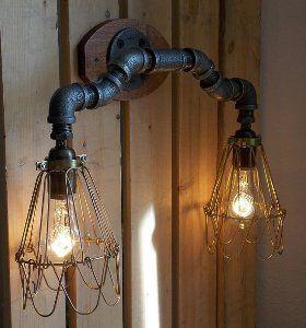 Lámparas caseras de estilo industrial hechas con tubos