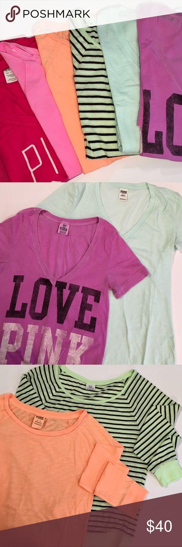 BUNDLE: 6 VS PINK TEES! ✔️Hot Pink Crop XS ✔️Jersey Batwing XS ✔️Orange Long Sleeve XS ✔️Chartreuse Long Sleeve S ✔️Pistachio Tee S ✔️Purple Tee XS PINK Victoria's Secret Tops