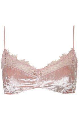 Velvet Soft Bra - Pale Pink from TOPSHOP. #lingerie #lace #bras #velvet. Shop more products from TOPSHOP on Wanelo.