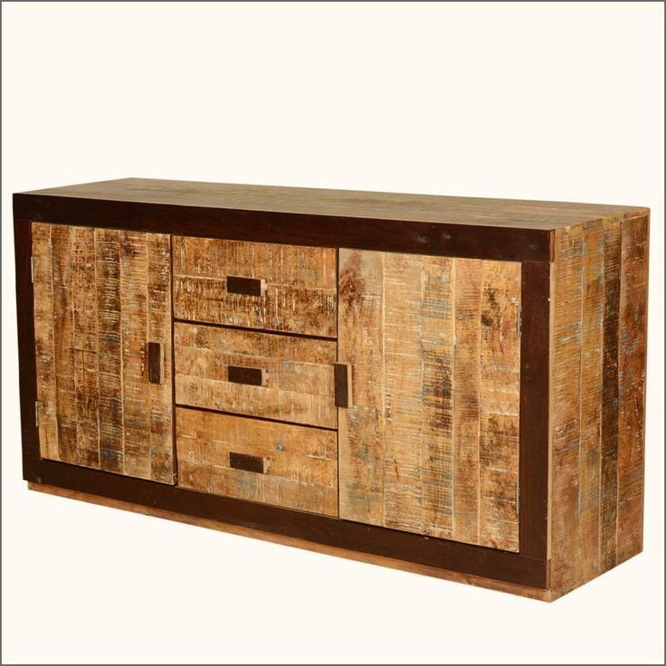 Contemporary Geometric Mango Wood Sideboard Storage Cabinet
