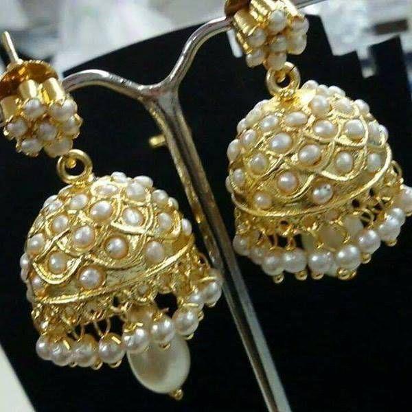 Ethnic jadau pearl stud jhumki earring