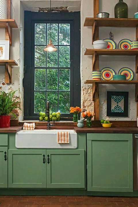 Love The Farm House Sink And The Shelves.