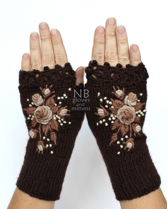 Knitted Fingerless Gloves, Chocolate Brown, Beige, Cappuccino, Roses, Gloves…