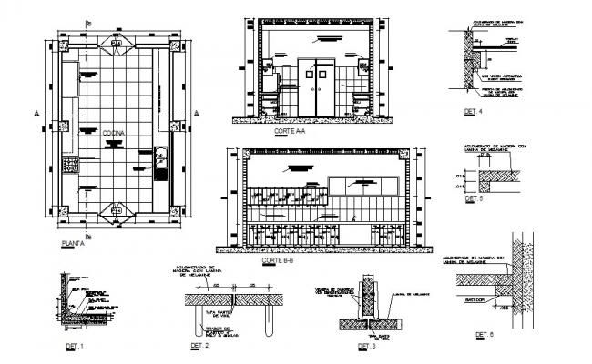 Hotel kitchen constructive section, plan and auto-cad details dwg