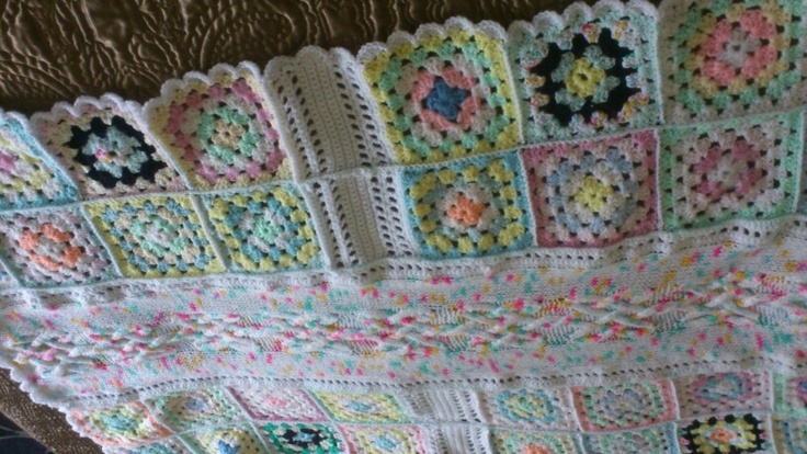 Baby blanket with knitted & crocheted panels
