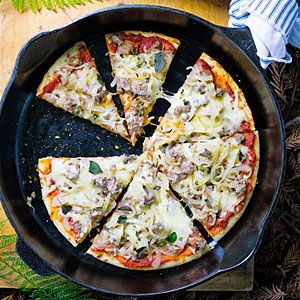 Camp Pizza with Caramelized Onions, Sausage, and Fontina. +Use pepperonis, mushrooms, mozarella cheese +Or use refrigerated canned pizza crust (similar to cresent roll)