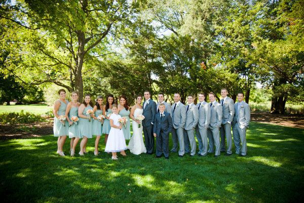 J.Crew dusty shale with groomsmen in grey suits and groom in darker suit