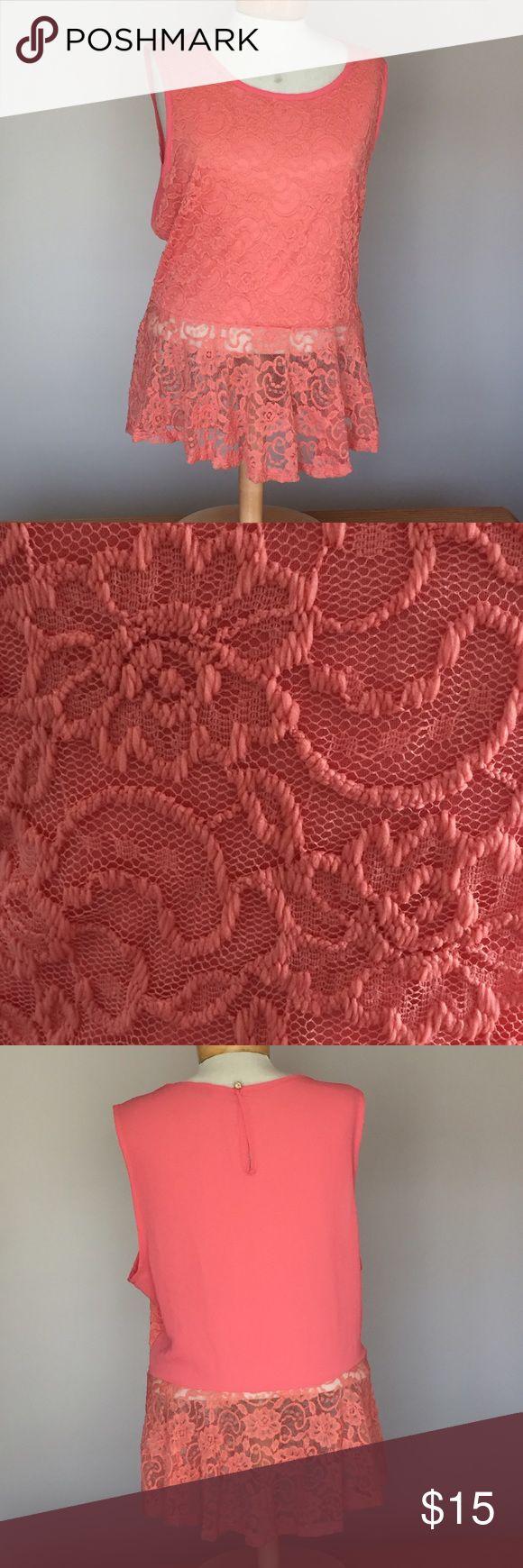 "🆕 Deb Shops Peach Lace top. Size XXL 🆕 Deb /Hugo coral Lace top. Size XXXL. 27"" long. Nylon/spandex. Deb Tops"
