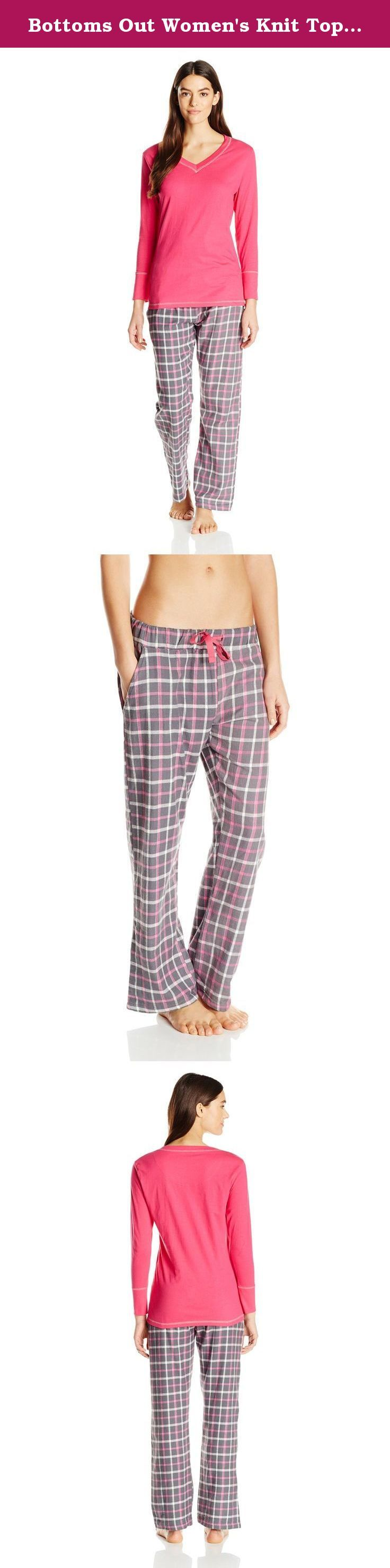Bottoms Out Women's Knit Top with Flannel Pant Pajama Set, Pink/Grey, Medium. Ladies pajama set with V-neck knit top and plaid flannel pants.