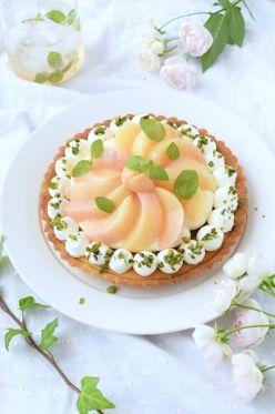 「桃のコンポート乗せカスタードタルト」nao_cafe_ | お菓子・パンのレシピや作り方【corecle*コレクル】
