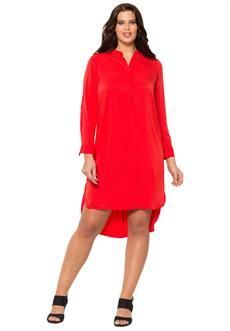 Roaman's - Womens Plus Size Hi/Low Shirtdress, Hot Red -  Plus Size Red Dresses Your Valentine Will Adore