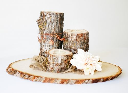 wooden crates for centerpieces | Rustic Wooden log Tea Light Candle Set of 3 | Centerpieces | Wedding ...