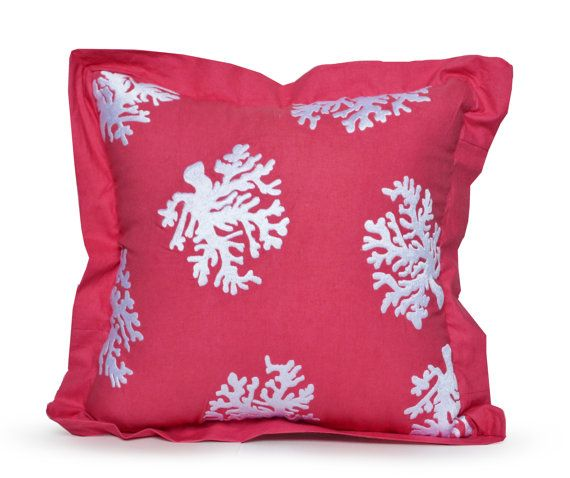 Coral Pillow Cover Cotton Throw Pillow Case Hand by AmoreBeaute